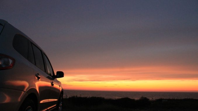 car and sunset
